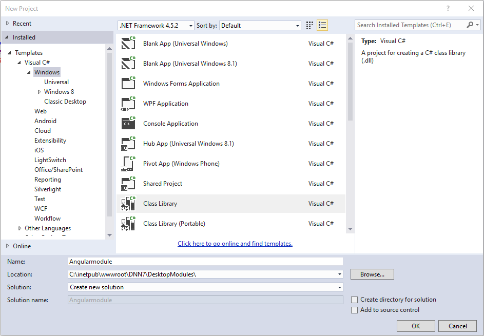 Setup Visual Studio project
